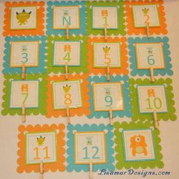First Year Photo Mini Clips, First Year Banner, Monster Birthday Party, Any Theme