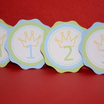 First Year Photo Clips, First Year Banner, Yellow Crown Birthday Party, Any Theme
